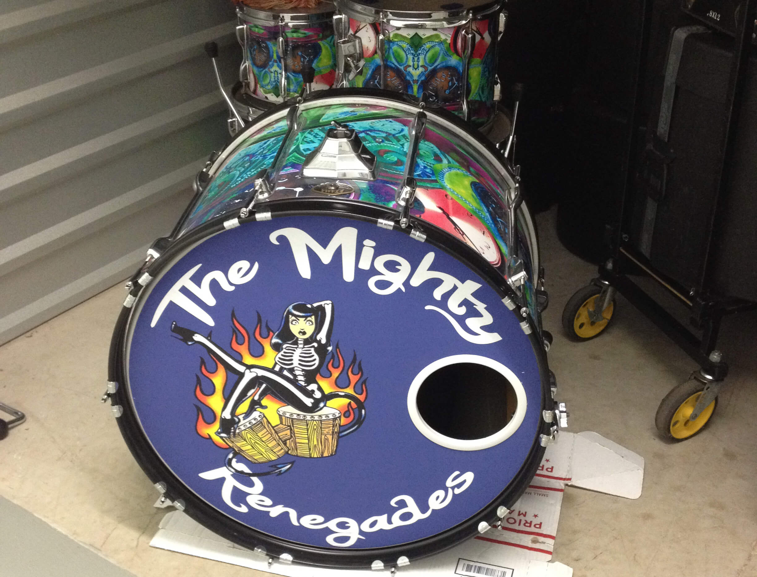 The Mighty Renegades, bass drum removable decal, Bass drum skin, bass drum full color decal, drum skin, sale, cheap price, die-cut, die cut vinyl decals, removable static cling drum decal, music bands, local band