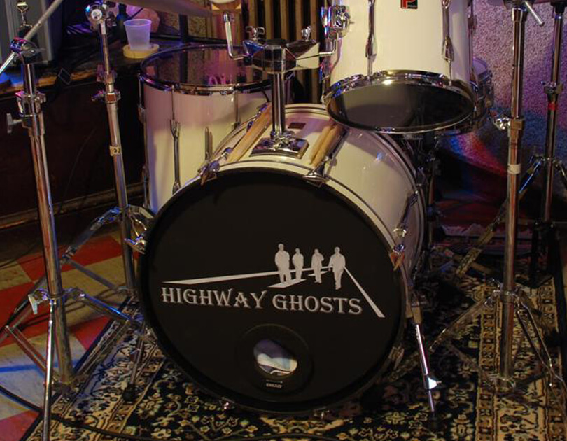 Highway Ghosts, Bass drum removable decal, Bass drum skin, bass drum full color decal, drum skin, sale, cheap price, die-cut, die cut vinyl decals, removable static cling drum decal, music bands, local band