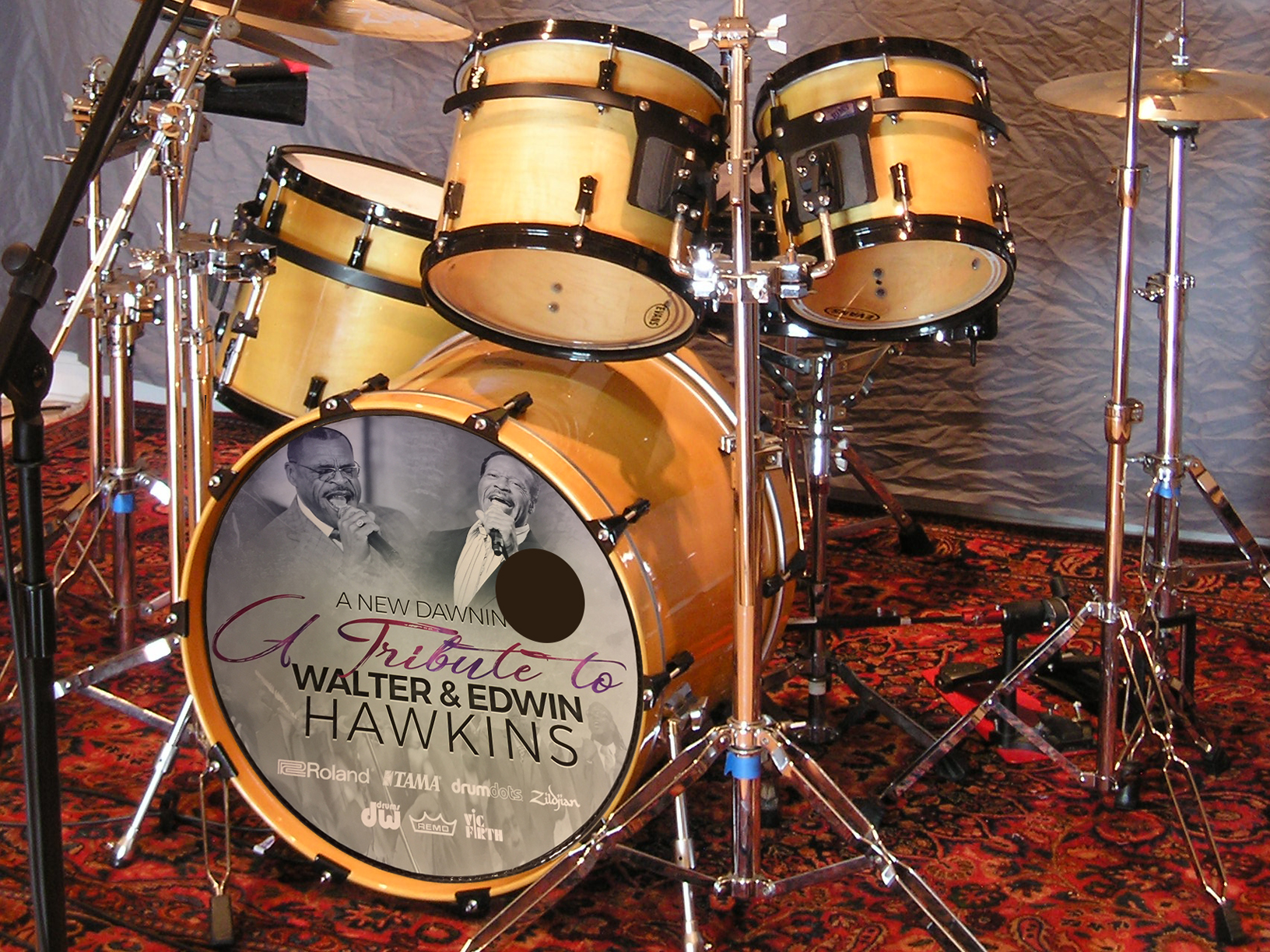 Tribute to Walter & Edwin Hawkins, removable drum decal, kick drum skin, full color drum decal, drum skin, sale, cheap price, die-cut, die cut vinyl decals, reusable static cling drum decal, music bands, local band