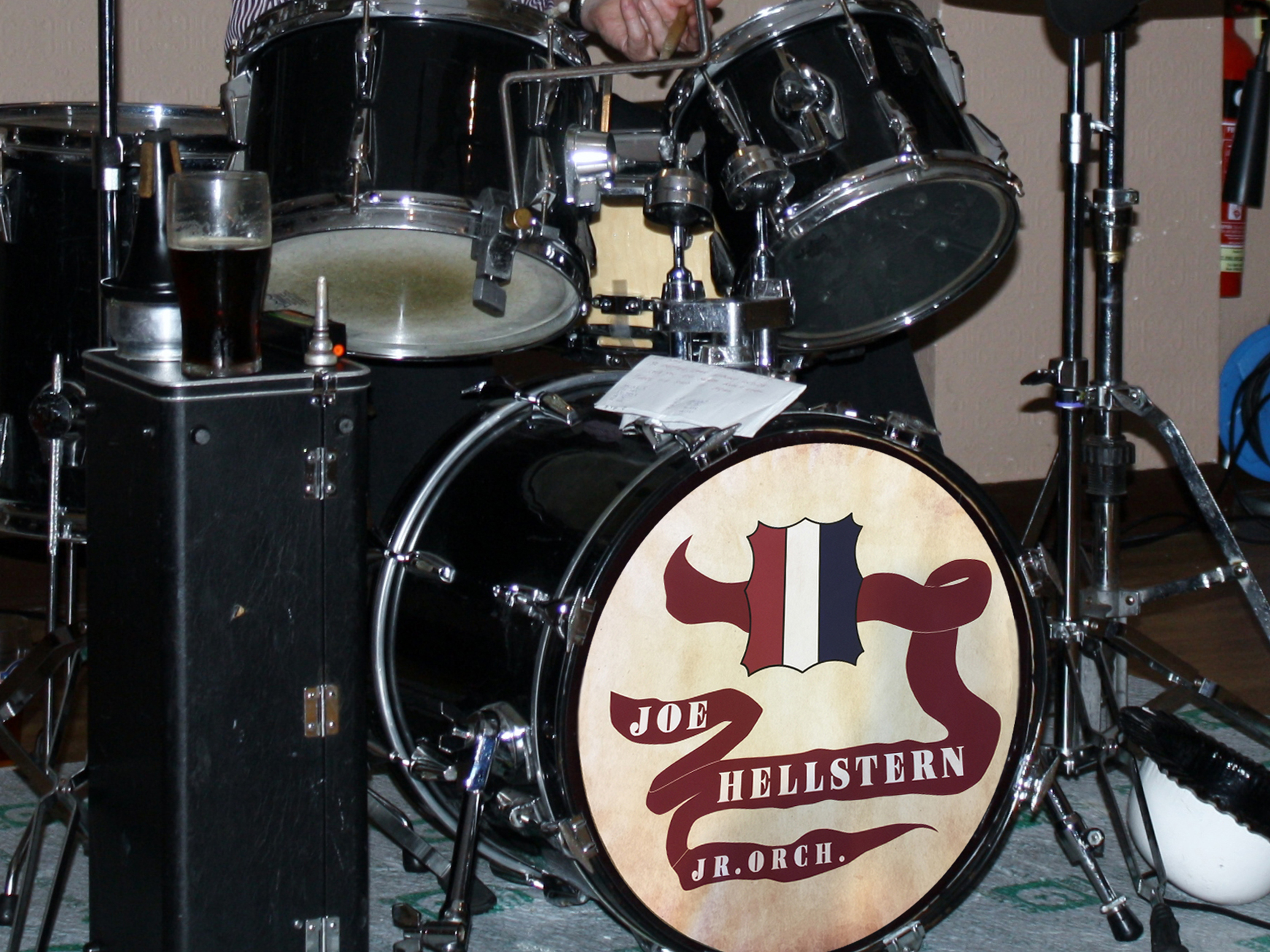 Joe Hellstern, removable drum decal, kick drum skin, full color drum decal, drum skin, sale, cheap price, die-cut, die cut vinyl decals, reusable static cling drum decal, music bands, local band
